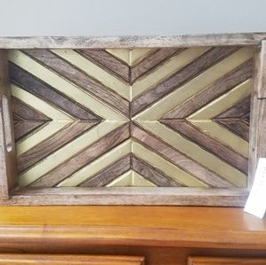 NWT Rustic Gold Geometric Wooden Tray Arrow